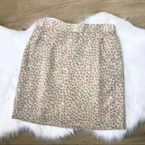 [LOFT] Pink Tan/Beige/Cream Dot Print Skirt - 8